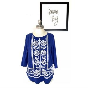 Lucky Brand Top Blouse Blue Embroidered Boho Large